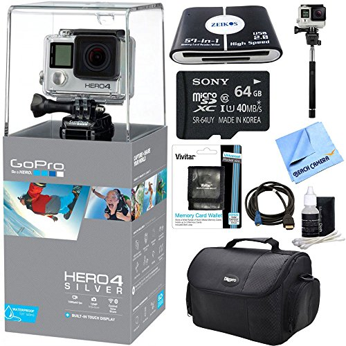 Beach Camera discount duty free GoPro HERO 4 Silver Action Camera Ready For Adventure Bundle - Includes 64GB Micro SDXC Memory Card, Deluxe Gadget Bag, HDMI to Micro-HDMI Cable, 57-in-1 USB Card Reader, Selfie Stick, and Much More