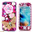 iPhone 6S Plus Bling Case - Fairy Art Luxury 3D Sparkle Series Big Rose Flowers Butterfly Bowknot Pendant Crystal Design Front & Back Snap-on Hard Cover with Soft Wallet Purse Red Cloth Pouch - Red