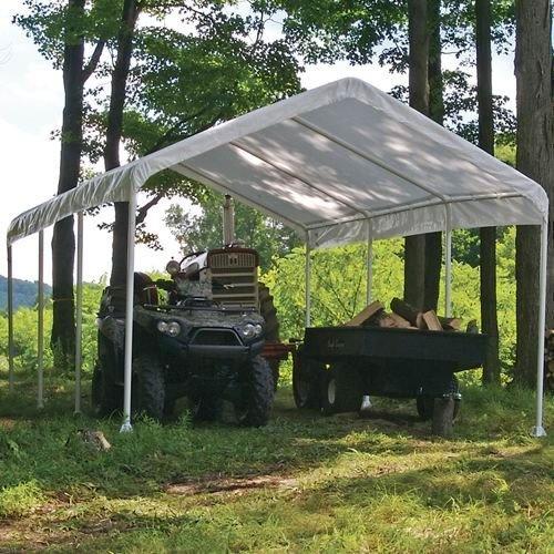 ShelterLogic 12 x 20- Feet Canopy 2- Inch 4-Rib Frame, White Cover
