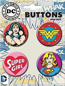 ATA-BOY DC Comics Wonder Woman and Supergirl Button-Pin (4-Pack)
