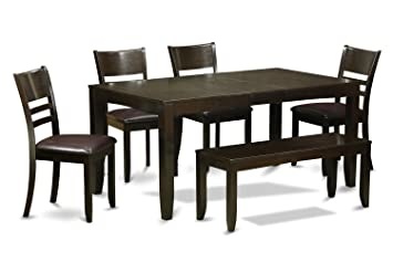 East West Furniture LYFD6-CAP-LC 6-Piece Dining Table Set, Cappuccino Finish