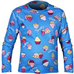 Hot Chillys Youth Pepper Skins Print Crewneck - Cupcakes-Blue, XXS