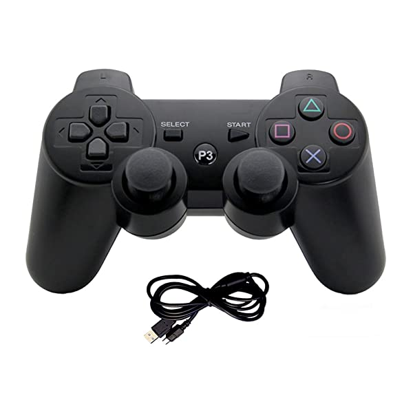Generic Wireless Gaming Controller- Bluetooth Gamepad Game Controller with Dual-Vibration Joysticks Compatible for PS3 by EVORETRO (Color: Black)