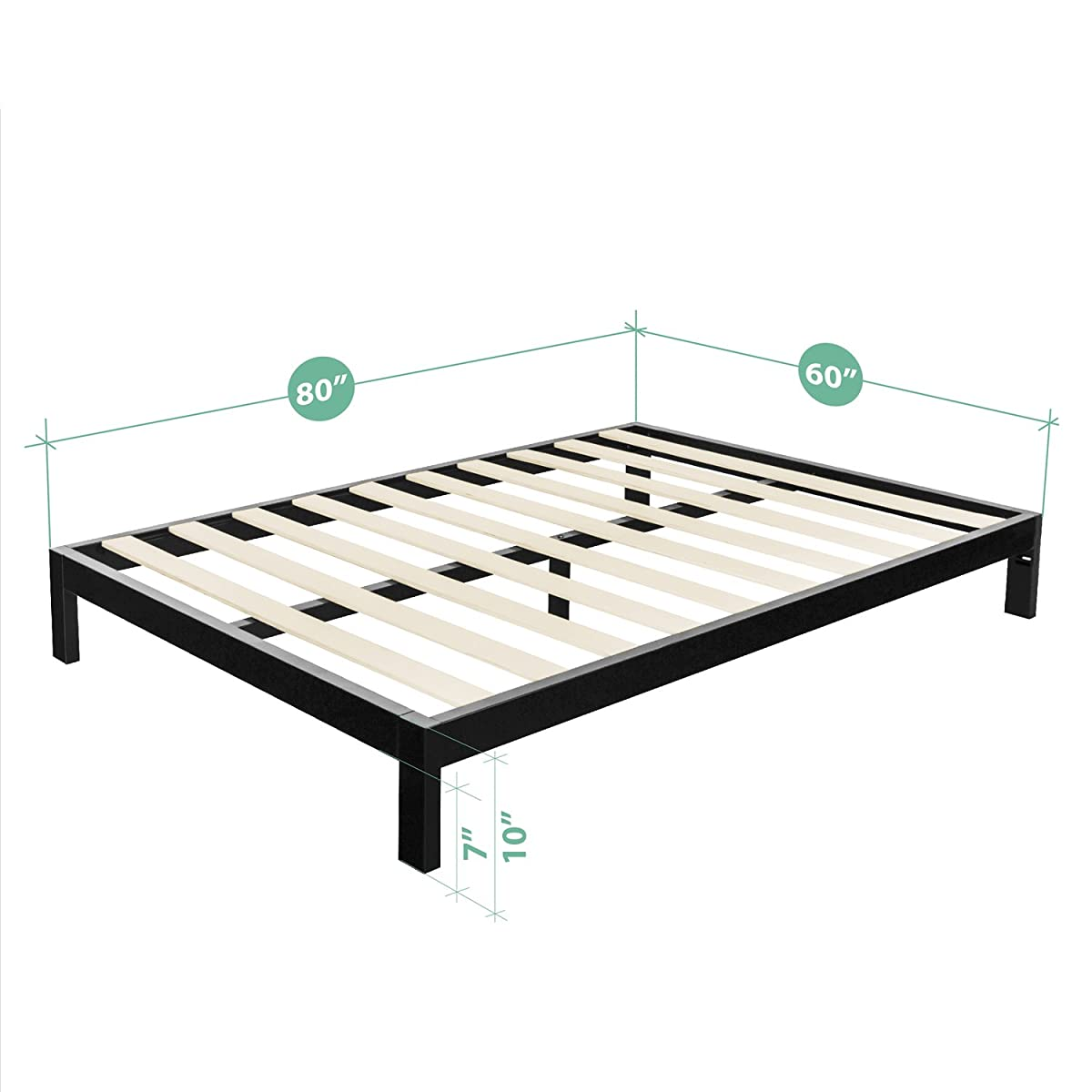 Zinus Modern Studio 10 Inch Platform 2000 Metal Bed Frame / Mattress Foundation / no Boxspring needed / Wooden Slat Support / Good Design Award Winner, Queen