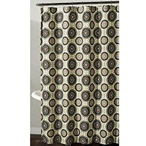 Bindis Suzani Medallion Fabric Shower Curtain In Brown Aqua Amp