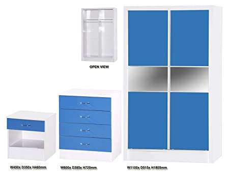 Alpha High Gloss and White Slider Set, Wood, Blue, 3 Piece