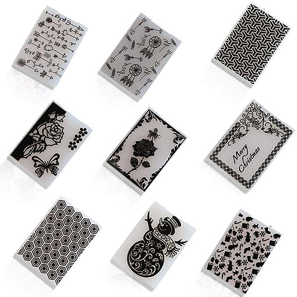 Christmas Plastic Embossing Folder DIY Craft Template Stamp Scrapbook Cards Photo Album Making Stencil Tool Scrapbooking Embossing Folders DIY Handmade Art Craft Supplies Fondant Cake Decorating Mould (Color: 9Pcs)