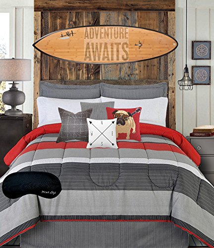 Teen Boys Bedding Modern Striped Rugby Gray Black Red QUEEN Comforter, Sheets, Bedskirt & Home Style Brand Sleep Mask (9 Pc. Bed in a Bag Teens Boy Bundle) (Queen)