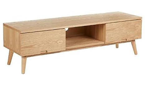 Meuble TV bas avec 2 tiroirs en bois Lerka, L.150 x P.45 x H.45 cm -PEGANE-