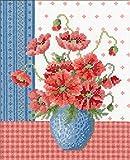 オリムパス製絲 ししゅうキット ポピーとブルーの花瓶 7482