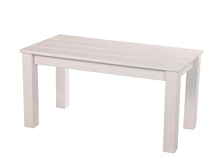 Ambientehome 90442100x 50cm Europa in legno massello mobili da giardino caffè–Tavolino da salotto bianco