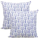 Store Indya Set of 2 Cushion Covers Hand Woven in Pure Cotton with Printed Tree Motifs Throw Pillow Case Home Sofa Decorative