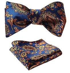 SetSense Men\'s Paisley Jacquard Woven Self Bow Tie Set One Size Blue / Orange