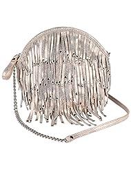 Massimo Italiano Women's Leather Small Sling Bag (Golden)