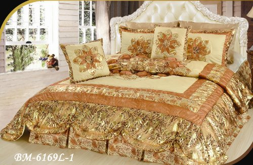 Dada Bedding Bm6169L-1 5-Piece Patchwork King Midas Quilt Set, Queen/Full, Gold