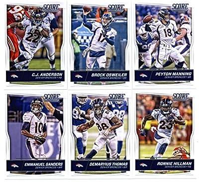 2016 Score Denver Broncos Veterans Team Set of 12 Football Cards: Peyton Manning(#95), Brock Osweiler(#96), C.J. Anderson(#97), Ronnie Hillman(#98), Demaryius Thomas(#99), Emmanuel Sanders(#100), Owen Daniels(#101), Vernon Davis(#102), DeMarcus Ware(#103)