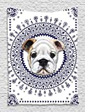 British Bulldog English Cute Young Funny Dog Pet Portrait Navy Blue Ethnic Tribal Bohemian Hippie Indian Mandala Digital Printed Tapestry Wall Hanging Wall Tapestry Living Room Bedroom Dorm Decor