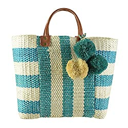 Mar Y Sol Collin Woven Straw Market Tote Teal Natural