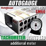 オートゲージ(AUTOGAUGE) タコメーター SM 60Φ ホワイトフェイス ホワイトLED