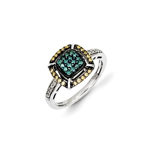 Black Bow Jewellery Company : White, Champagne & Blue Diamond 11mm Square Ring in Sterling Silver
