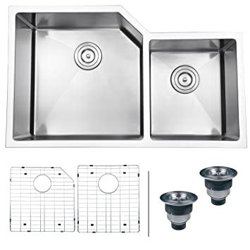 "Ruvati RVH8150 Undermount 16 Gauge 33"" Kitchen Sink Double Bowl, Stainless Steel"