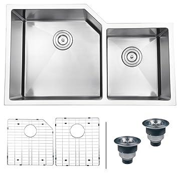 "Ruvati RVH8150 Undermount 16 Gauge 33"" Kitchen Sink Double Bowl, Stainless Steel"
