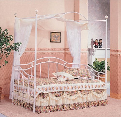 1 buy discount white sweetheart twin canopy day bed with for Cheap white twin bed