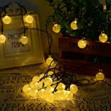 Solar Power Globe String Lights (30 LED) for Outdoor/Indoor Use & Garden Decor, Best Decorative Outside Lighting for Hanging on Patio, Fence or Yard, Sun Powered Clear Fairy Bubble Bulbs (Warm White)