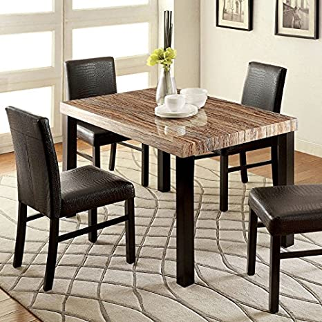 Rockham Contemporary Style Black Finish 5-Piece Dining Table Set