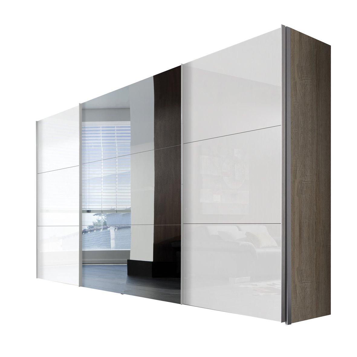Solutions 45350-768 Schwebetürenschrank 3-türig, Griffleisten Alufarben, Korpus Sonoma-Eiche / Front Lack weiß und Spiegel