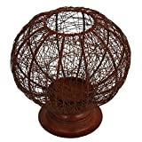 Store Indya Wire Lantern Lamp Made From Iron Has Rounded Structure & Great For Indoor-Outdoor Areas