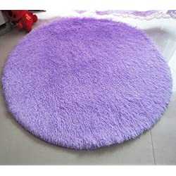 F-F Princess Dream Round Shaggy Area Rugs and Carpet Super Soft Bedroom Carpet with a Heart Rugfor Kids Play Round 47.2 (Purple)