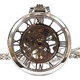 [モノジー] MONOZY 機械式 手巻き 懐中時計 【選べる色】アンティーク 風 全面 スケルトン 【収納袋、化粧箱】両面 ガラス 懐中時計