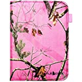 "Kindle Fire HDX 7"" Pink Real Camo Camouflage Mossy Tree PU Leather 360 Rotating Smart Case Cover with Closing Band & Stylus Holder By DealsEggs®"