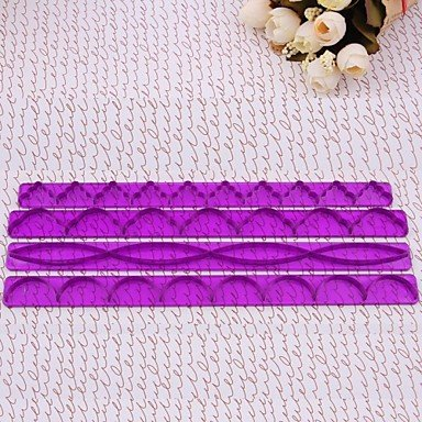 JJEDIY Cake Edge Decorating Fondant Sugarcraft Modelling Tools Purple Frill Ribbon Embosser