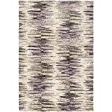 Safavieh Retro Collection RET2140-2473 Area Rug, 5-Feet by 8-Feet, Light Brown and Eggplant