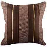 Aaiye Ghar Sajaiye Raw Silk Cushion Cover With Brown Jute And Golden Lace- Set Of 5, Brown_(12 X 12 Inch)