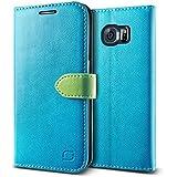 GALAXY S6 Edge レザーケース Lific Vivid Diary ブック タイプ 手帳型 PU レザー ケース スタンド機能付 for Samsung GALAXY S6 Edge SC-04G SCV31 ターコイズ 【国内正規品】 国内正規品証明書 付
