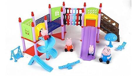 Peppa Pig Series enfants de miniature parc parties simulation jouet toboggan ensembles de jeux