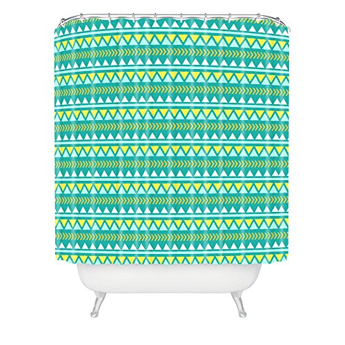 Deny Designs Allyson Johnson Teal And Yellow Aztec Shower Curtain front-383613