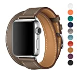 Apple Watch Band 38/42mm Leather Double Tour iwatch Strap Replacement Band with Stainless steel Adpter Clasp for Iphone Watch Series 3 Series 2 Series 1,Sport Edition ,Men Women (Gray, 38mm)