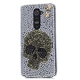 LG V10 Bling Case - Fairy Art Luxury 3D Sparkle Series Kito Skull Star Crystal Design Back Cover with Soft Wallet Purse Red Cloth Pouch - Silver