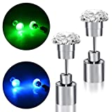 LED Earrings, 4 Pair Glowing Light Up Earrings Bright Stylish Fashion Ear Pendant Stud Stainless for Party Men Women Halloween Thanksgiving (Color: Ring 4 pairs)