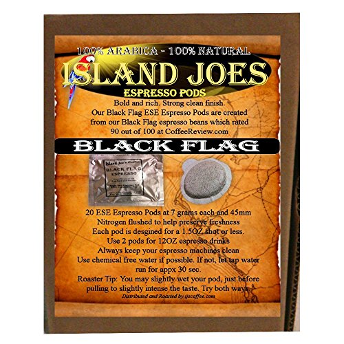 Island Joes Ese Espresso Pods Black Flag - Bold - Rich - Smooth Finish (20 Count)