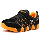 HOBIBEAR Children Outdoor Strap Athletic Sneakers Running Shoes Orange/Black (Color: Orange/Black, Tamaño: 12.5 M US Little Kid)