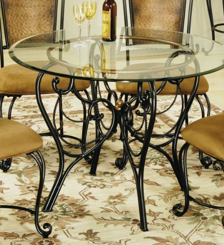 Cheap Milan Dining Table with 44″ Glass Top (Black and Copper) (30″H x 44″W x 44″D) (4527dtbg44)
