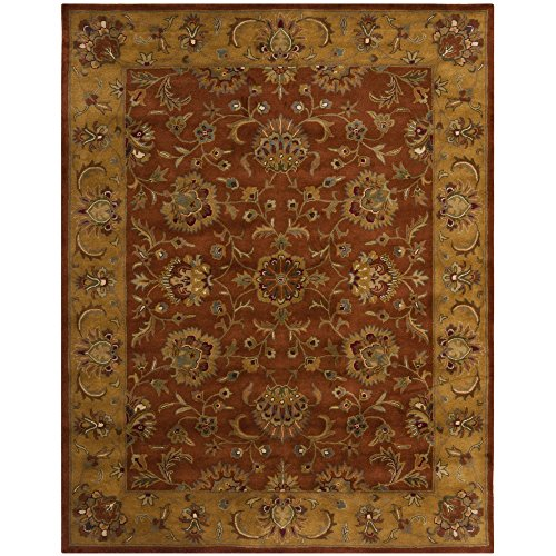 Safavieh Heritage Collection HG820A Handmade Red and Natural Wool Area Rug, 9 feet by 12 feet (9' x 12')