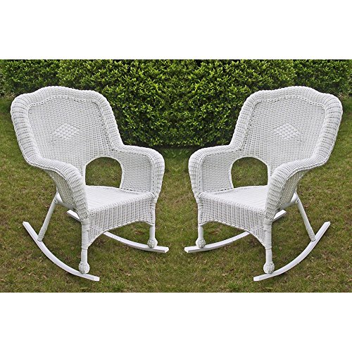 International Caravan International Caravan Monaco All-Weather Wicker Outdoor Rocker - Set of 2, White, Wicker image
