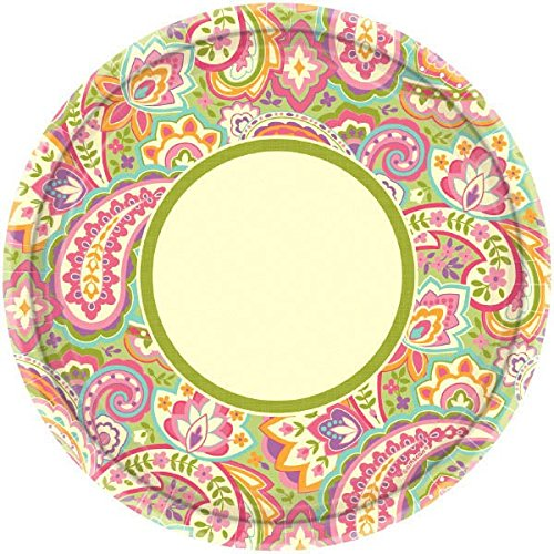 "Amscan Disposable Pretty Paisley Round Dinner Paper Plates Party Supply (8 Pack), 10"", Pink/Multi"