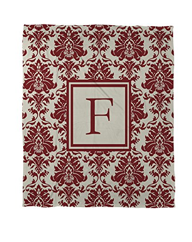 Thumbprintz Coral Fleece Throw, 50 By 60-Inch, Monogrammed Letter F, Crimson Damask front-448830